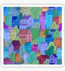 Colourful Blue Town Pattern Sticker