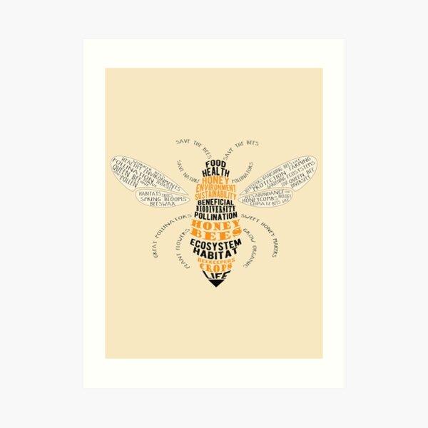 Honey Bee Word Cloud with Wings Art Print