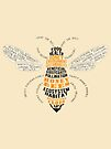 Honey Bee Word Cloud with Wings by jitterfly