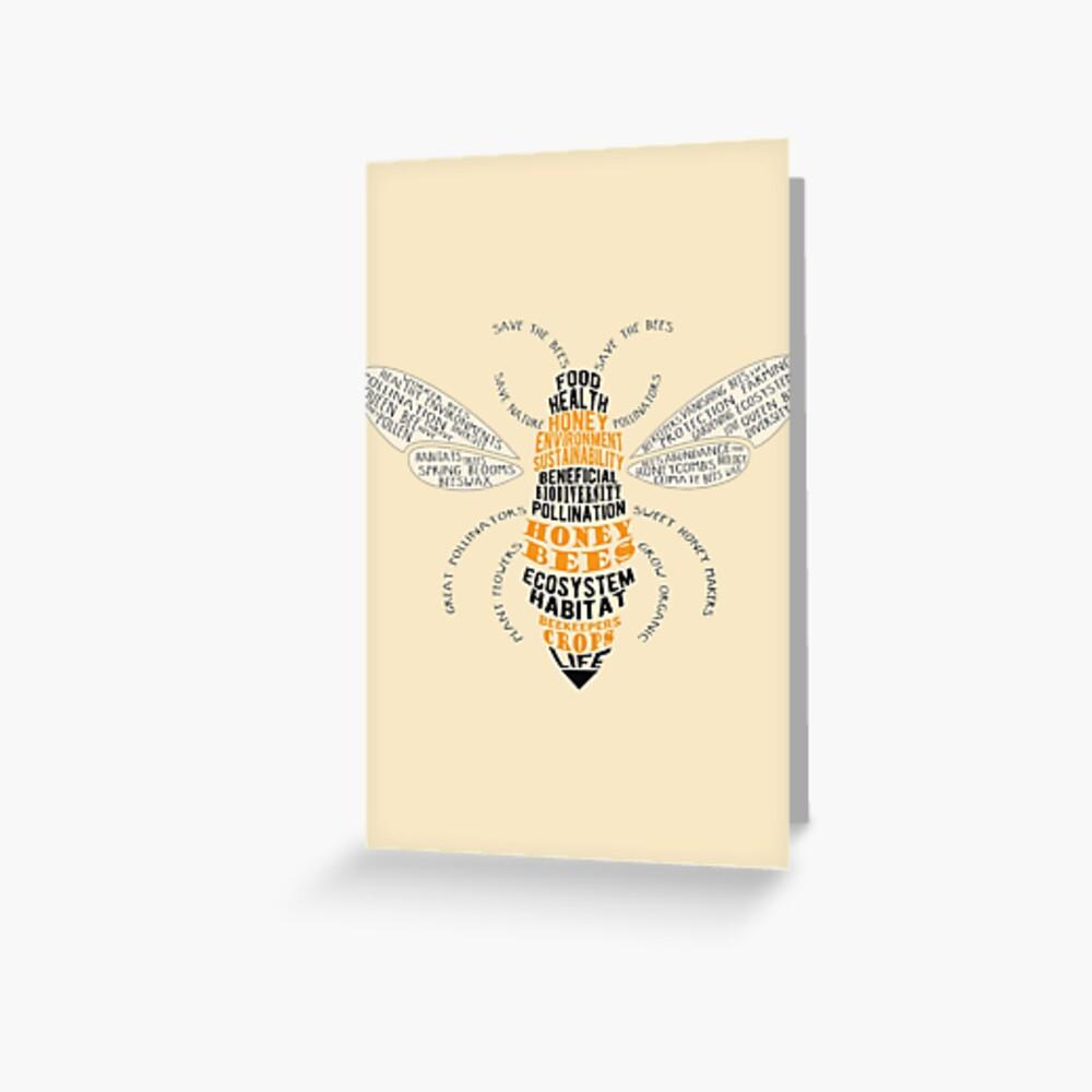 Honey Bee Word Cloud with Wings Greeting Card
