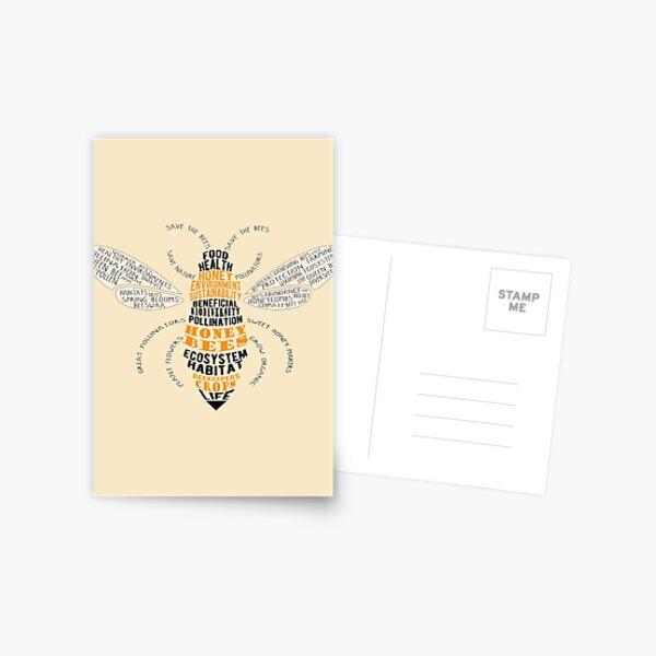 Honey Bee Word Cloud with Wings Postcard