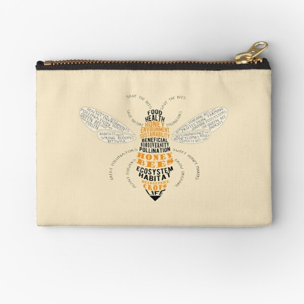 Honey Bee Word Cloud with Wings Zipper Pouch