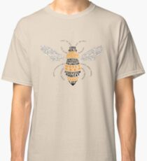 Honey Bee Word Cloud with Wings Classic T-Shirt