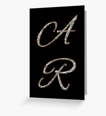 Initials A and R with diamond look Greeting Card