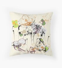 Shades of being, primary floral, beige & green Throw Pillow