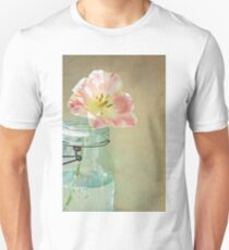 Pink and Yellow Tulip in Vintage Blue Jar Unisex T-Shirt