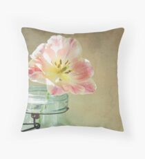 Pink and Yellow Tulip in Vintage Blue Jar Throw Pillow