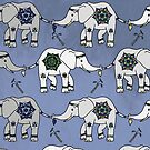Marching Elephants Repeat Pattern by Bronte Carr
