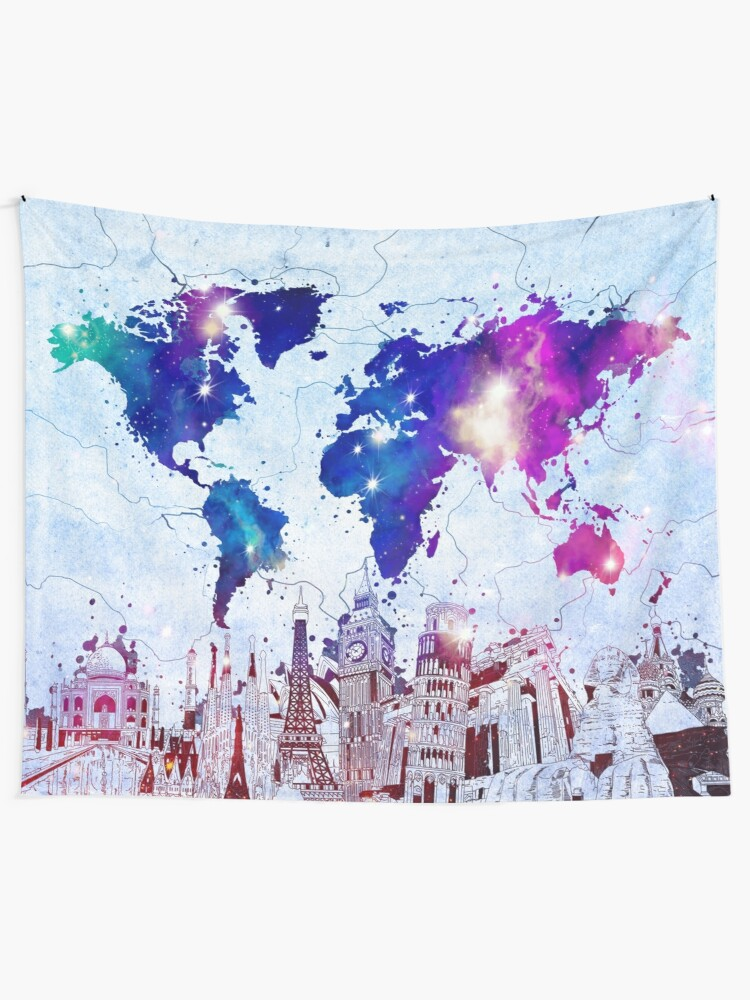 Alternate view of world map Tapestry