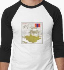 Mongolia Curio Post Card Men's Baseball ¾ T-Shirt