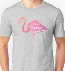 Watercolor Love Flamingos Unisex T-Shirt