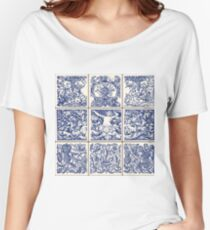 Traditional Oriental Ceramic Vintage Flowers Vector Illustration Women's Relaxed Fit T-Shirt