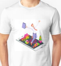 Isometric Vector 3D Businessman Infographic Business Man Jumping T-Shirt