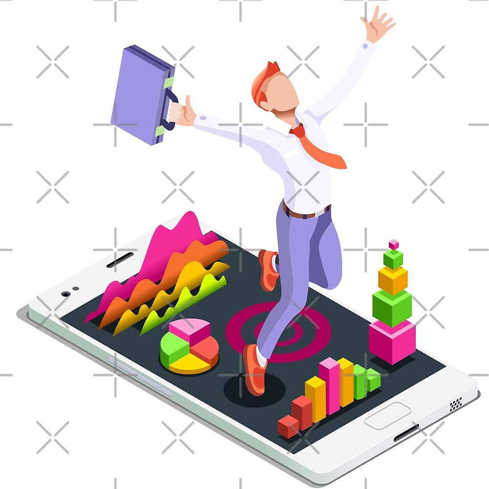 Isometric Vector 3D Businessman Infographic Business Man Jumping by aurielaki