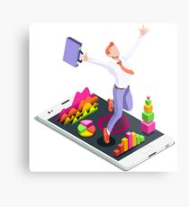 Isometric Vector 3D Businessman Infographic Business Man Jumping Metal Print