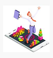 Isometric Vector 3D Businessman Infographic Business Man Jumping Photographic Print