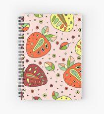 Seamless hand drawn childish pattern with strawberries Spiral Notebook