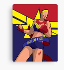 Fight Like A Girl - Captain Marvel Canvas Print