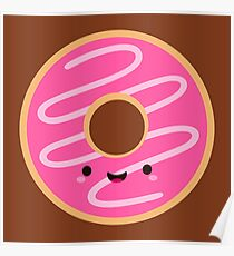 Cute Happy Pink Donut Poster