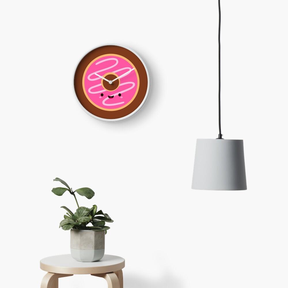 Cute Happy Pink Donut Clock