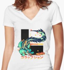 Crocodile: CORRUPTION Women's Fitted V-Neck T-Shirt