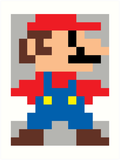 Super mario 8 bit sprite modern colors art prints by - Pictures of 8 bit mario ...