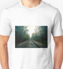 Creepy foggy railroad Unisex T-Shirt