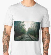 Creepy foggy railroad Men's Premium T-Shirt