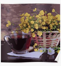 Basket of Yellow Flowers Cup of Tea Poster