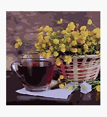 Basket of Yellow Flowers Cup of Tea Photographic Print