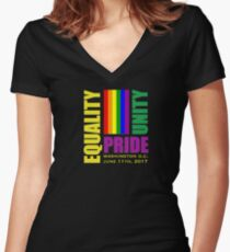 Equality March 2017 - June 11, 2017 - Washington D.C. Women's Fitted V-Neck T-Shirt