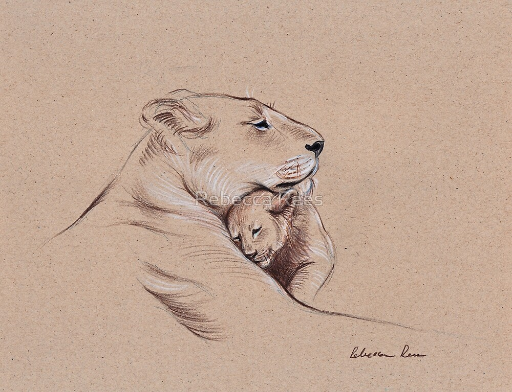 Quot Quot A Mother S Pride Quot Lioness And Cub Original Pencil
