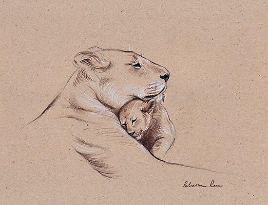 Quot Quot A Mother S Pride Quot Lioness And Cub Original Pencil