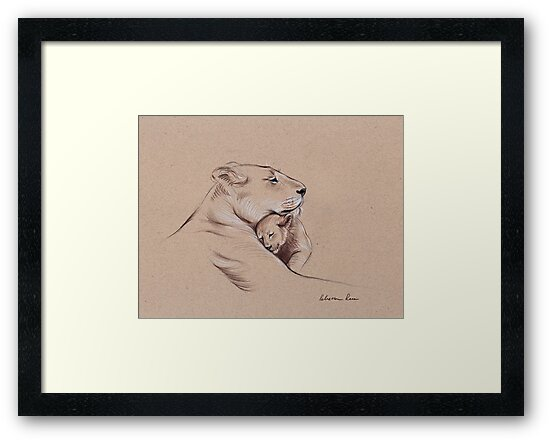 """""""A Mother's Pride"""" Lioness and cub original pencil drawing. by Rebecca Rees"""