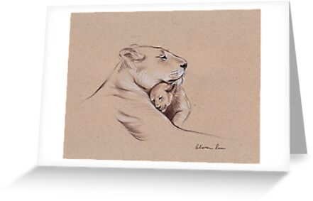 """A Mother's Pride"" Lioness and cub original pencil drawing. by Rebecca Rees"