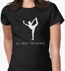 Yoga Wine Balance  Womens Fitted T-Shirt