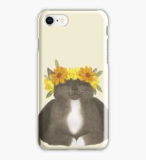 Flower Cat - Black With Yellow iPhone Case/Skin