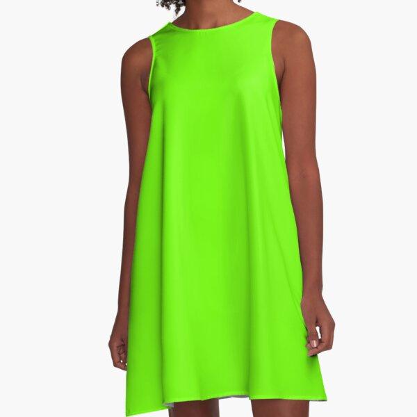 Superhelle fluoreszierende grüne Neon A-Linien Kleid