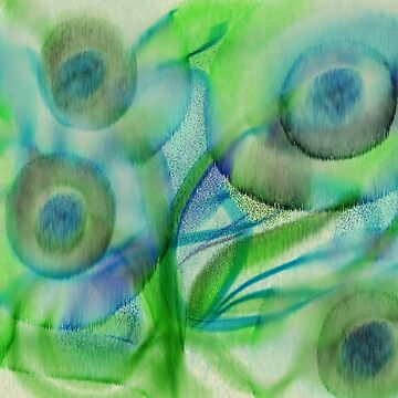 Blue Flowers Watercolor Print by lennycat