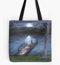 At The Lake By Night Painting Tote Bag