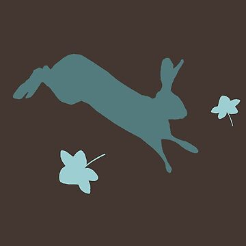 Teal hare on brown with ivy by chihuahuashower