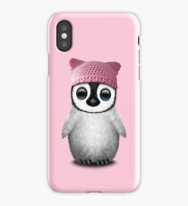 Cute Baby Penguin Wearing Pussy Hat iPhone Case/Skin