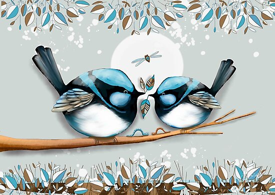 Blue Wrens by Karin Taylor