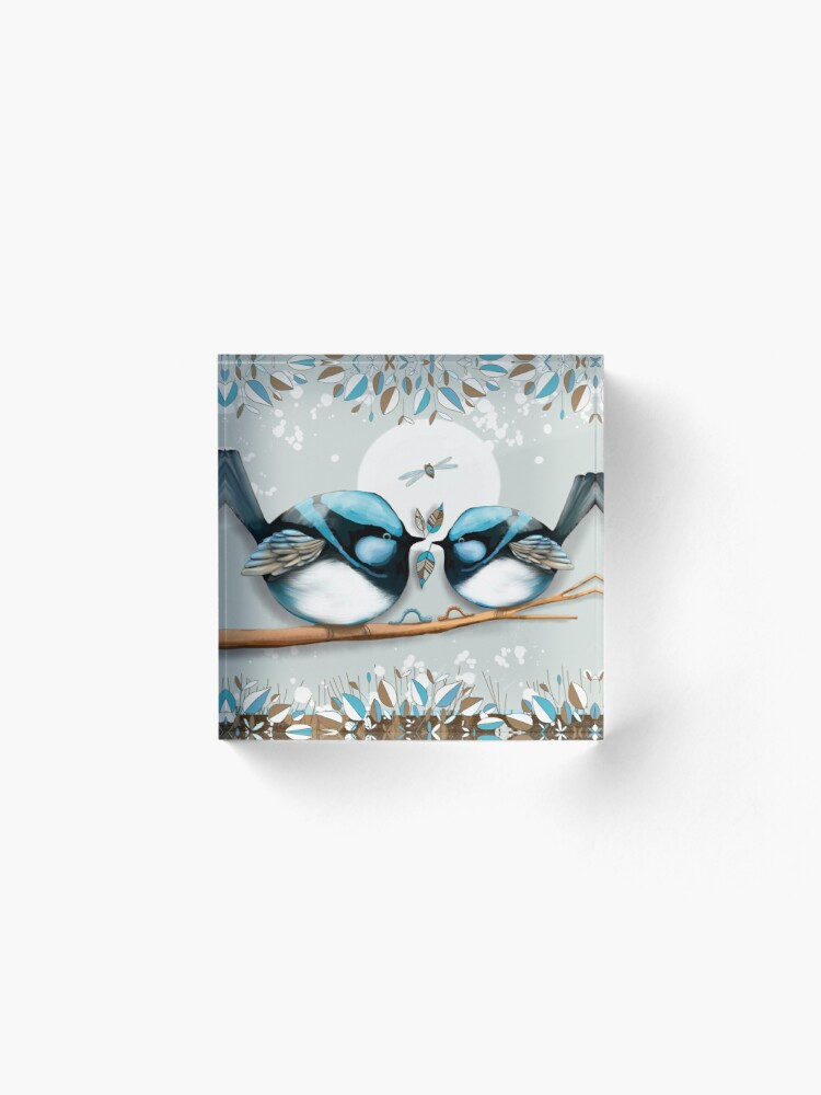 Alternate view of Blue Wrens Acrylic Block