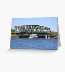 Swing Bridge And Boat Greeting Card