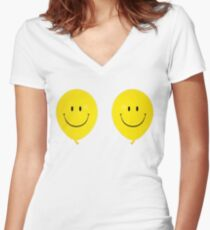 Happy Face Balloon All Smiles stickers Women's Fitted V-Neck T-Shirt