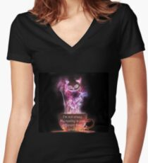 Cheshire Cat  Fitted V-Neck T-Shirt