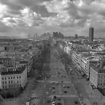 Paris Skyline in B&W by kuaile