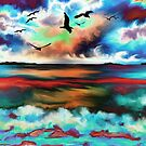 Abstract Oil Paint Seascape by Patterns Galore