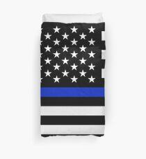 Thin blue line horizontal police flag Duvet Cover